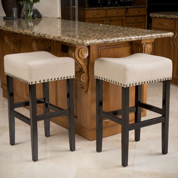 Chantal Beige Linen Fabric Counter Stools (Set of 2)