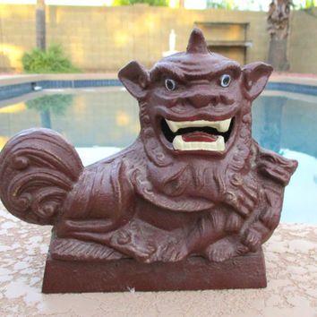 Cast Iron Foo Dog Doorstop Chinese Asian Decor Door Stop Dragon Statue