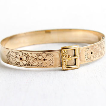 Antique Art Deco Belt Buckle Bracelet - Vintage 1920s Rosy Yellow Gold Filled Etched Flower Bangle Jewelry