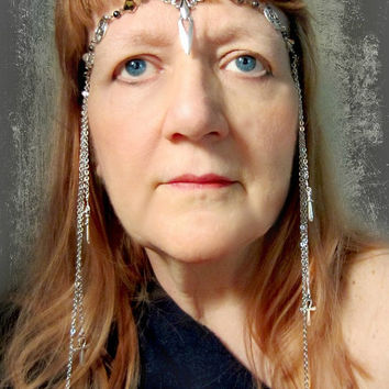 Winged Sword Ritual Circlet, Hematite Headdress, Pentacle Headpiece