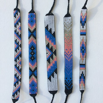 Seed Bead Friendship Bracelet - Silver, Neon Peach, Blue, Teal