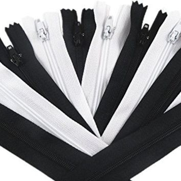 YAKA 50pcs Black & White Nylon Coil Zippers Tailor Sewing Tools Garment Accessories 9 Inch