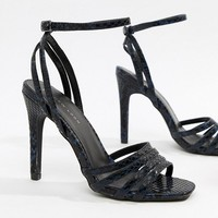 New Look Snake Effect Heeled Sandal at asos.com