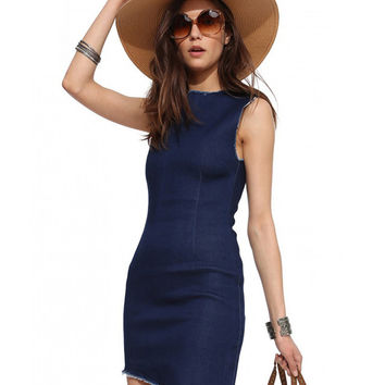 Frayed Denim Sleeveless Asymmetric Mini Bodycon Dress
