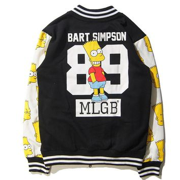 Street tide brand MLGB men and women Simpson cartoon baseball clothing autumn and winter plus velvet long - sleeved sweater jacket tide men and women