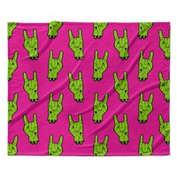 "KESS Original ""Zombie Rock"" Green Magenta Fleece Throw Blanket"