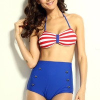 Red White and Blue Halter Striped High-Waisted Pin-Up Bikini