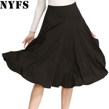 Midi long Skirt 2017 New Spring Summer skirts womens A Line Skater Casual saias Knee Length Saia Petticoat office skirt