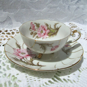 Vintage Cherry China Pink Floral Gold Trim Footed Demitasse Cup and Saucer - Japan