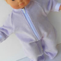 """Handmade Bitty Baby Doll Clothes Twin Girl, or Baby Doll 15""""  Lavender Zip Terry cloth Pjs Sleeper Feetie Pajamas"""