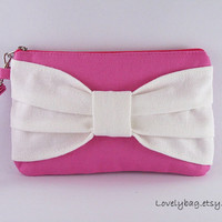 Big Bow Fuchsia Clutch,  Bridesmaid Gift Bag,Wedding Gift ,Cosmetic Bag Make Up, Camera Bag,Zipper Pouch, Zipper Wristlet