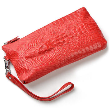 Genuine leather fashion crocodile wallets purse evening clutch bags small coin purses