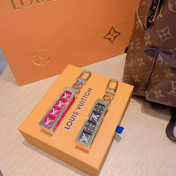 LV Tide brand joint name Supreme men and women models fashion wild dice keychain