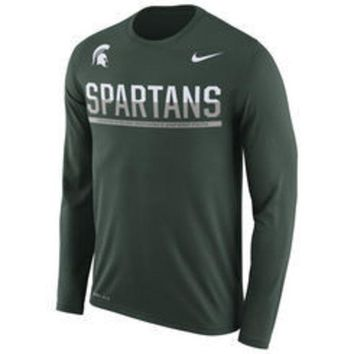 ESBON NCAA Nike Michigan State Spartans Men's Green 2016 Staff Sideline Legend Dri-FIT Long Sleeve T-Shirt