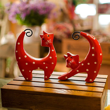 two-piece nordic style red wave cat set wood carving craft furnishing articles home decoration creative figurines gifts