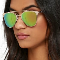 Awe and Wonder Gold and Green Mirrored Sunglasses