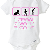 """Funny Silhouette Baby Girl Gift: Gerber Onesuit brand body suit """"1. Crawl 2. Walk 3. Golf"""" - Perfect new baby gift for Shopaholic Mama!!"""