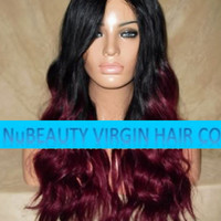 "CUSTOM COLORED Glueless Human Hair Wig Front Lace 20"" Very Long Wavy Black/Burgundy Red Ombre"