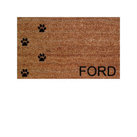 """Welcome Mat / Doormat With Personalized Last name or custom word choice and Pawprints - 18x30"""" made from natural coir"""