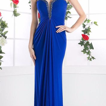 Cinderella Divine 663 Strapless Pleated Rhinestones Bodice Empire Waist Royal Full Length Gown