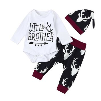 Little Brother Newborn Infant Baby Boy Deer 3pcs Outfits Toddler Kids Clothing Set