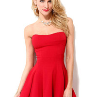 Red Bandeau Skate Dress not available