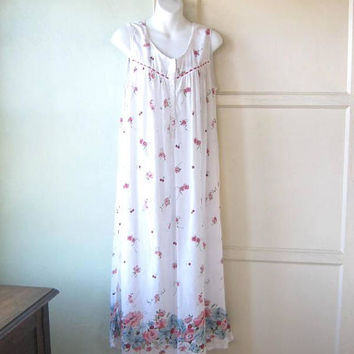 Sleeveless White Cotton Nightgown in Red Flower/Cherry Print; Women's Medium Long Nightgown; U.S. Shipping Included
