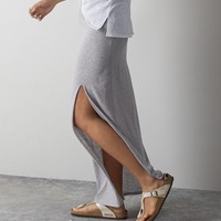 AEO Front Slit Maxi Skirt, Pale Pink | American Eagle Outfitters