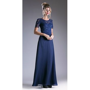 Navy Lace Bodice Short Sleeves A-line Long Bridesmaids Dress
