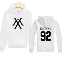 Kpop MONSTA X Sweatershirts Cotton blend HYUNGWO Unisex Hoodie Pullover Jumper Clothes Long sleeve for lover man and woman