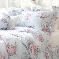Shabby and elegant Pretty Blue Roses Cotton 4pc Bedding Sheet Set
