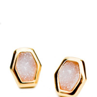 Drusy Hexagon Studs