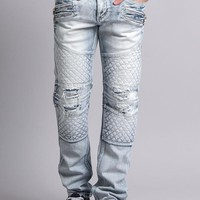 Quilted Ripped Washed Biker Jeans DL1033 - R4D