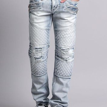 Quilted Ripped Washed Biker Jeans
