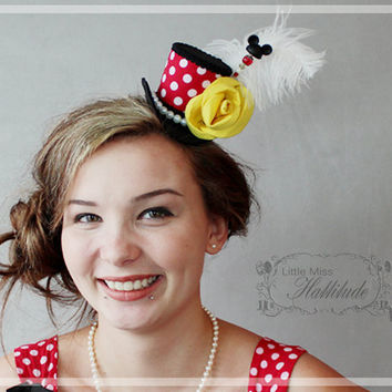 Mini Top Hat, Red with white Polka Dots, Mad Hatter Hat, Mini Hat, Tea Party Hat , Bridal Shower