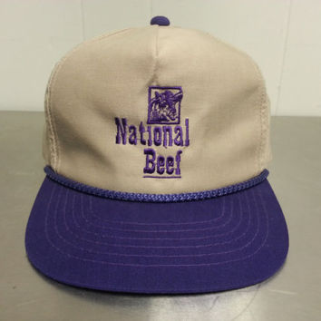 Vintage 80's or 90's National Beef Snapback Hat Hipster Style Ironic Meat Packing Industry Dad Hat