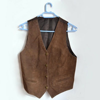 Womens Brown Suede Leather Vest Vintage Waistcoat Small S