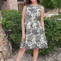 Luxe Of My Life Black and Silver Floral Metallic High Low Midi Dress