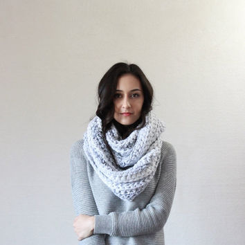 SPRING SALE The Lourdes, textured chunky infinity scarf - MARBLE