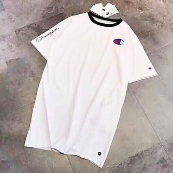Champion New fashion embroidery logo letter women long section top White