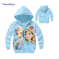 Girls spring jacket the snow queen elsa anna Costume Hoodie Outwear Cotton Coats Kids topolino children's baby jackets clothing