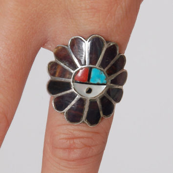 Vintage 70s ZUNI Ring Southwestern KACHINA Ring Sun God Ring Vintage Native American Ring Size 8.5