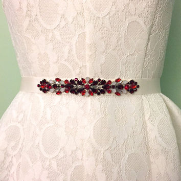 Holiday Garnet, Ruby Red, Ivory, and Opal, Crystal Handmade Embellished Bridesmaids Bridal Belt Grosgrain Ivory Sash