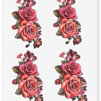 Twin Red Rose Flower Temporary Tattoos (4 in 1sheet)