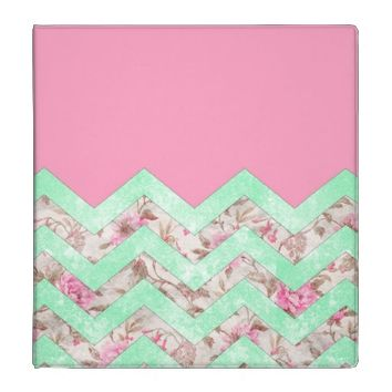 Girly Mint Green Pink Floral Block Chevron Pattern Vinyl Binders