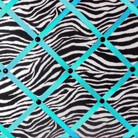 Zebra Print French Memo Board with Turquoise Ribbon (Teal/Aqua) - French Memory Board - Bulletin Board - FREE Shipping
