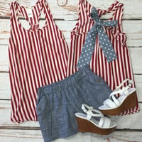 Striped Chambray Polka Dot Bow Top: Red