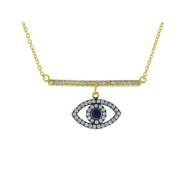 """Fronay Co, Spiritual CZ Bar & Eye Gold Plated Sterling SIlver Necklace, 16"""""""