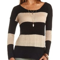 Boxy Rugby Striped Pullover Sweater by Charlotte Russe - Black Combo