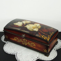 Distressed Shabby-chic Brown Black Music Jewelry Trinkets Box Home Table Decoration Decoupage